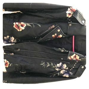 Embroidered Black Leather Jacket